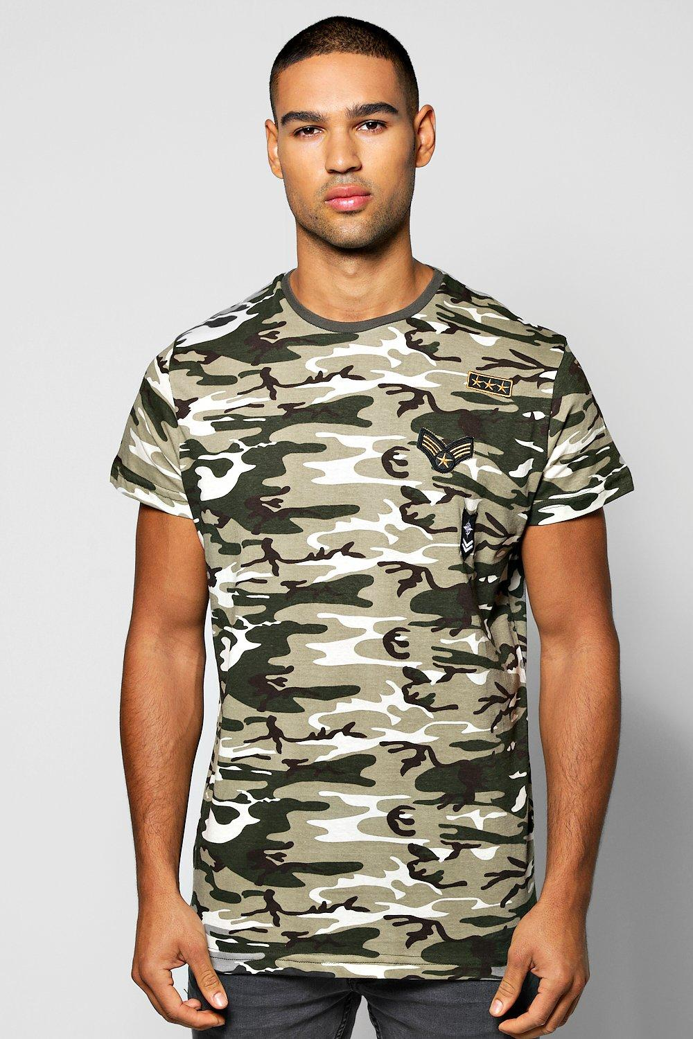 Longline Camo Badge T-Shirt W/Scoop Hem