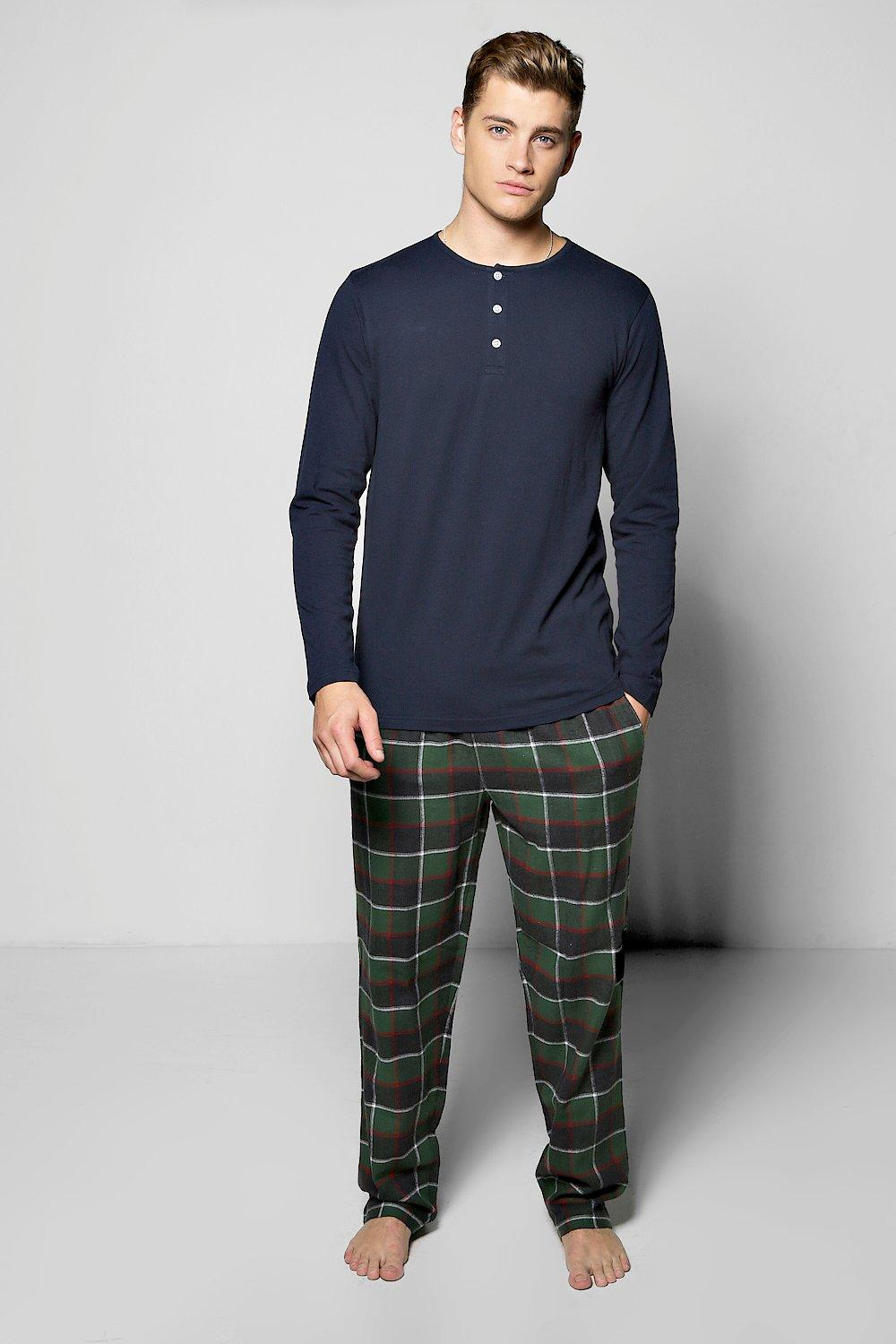 Check Fleece PJ Set With LS Henley