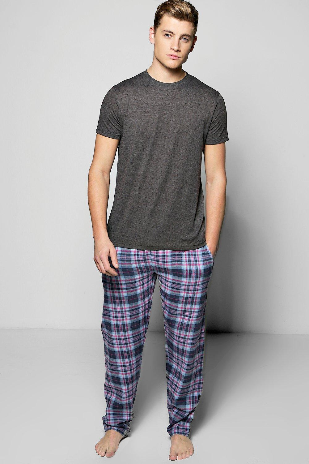T-Shirt And Woven Check Loungewear Set