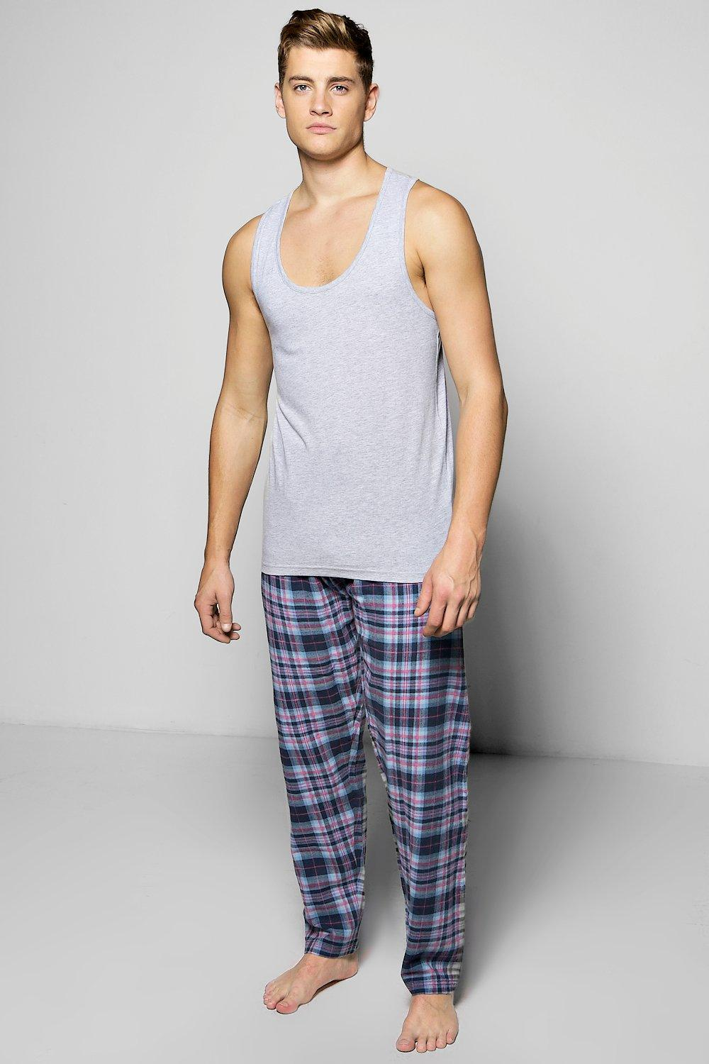 Check PJ Trouser Set With Vest