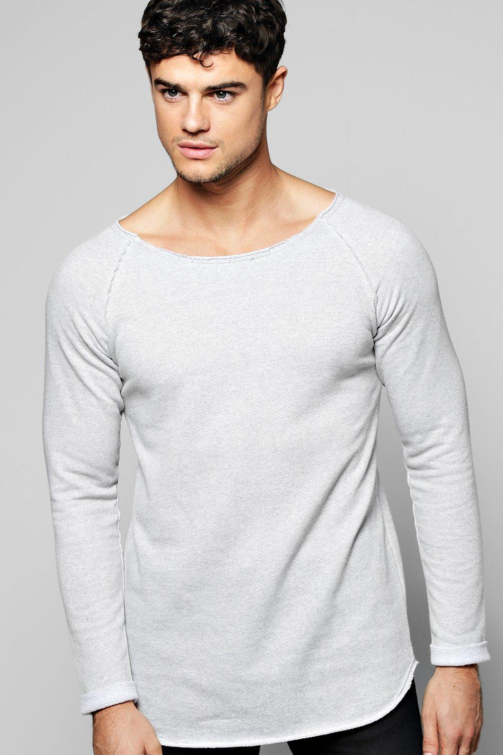 Longline Raw Edge Sweater With Raglan Sleeves
