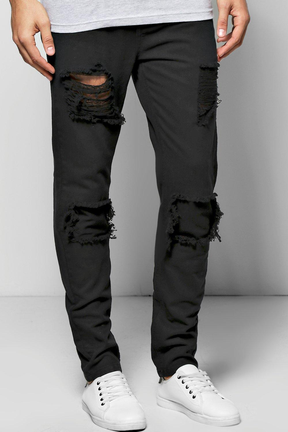 Skinny Fit Rigid Rip And Repair Jeans