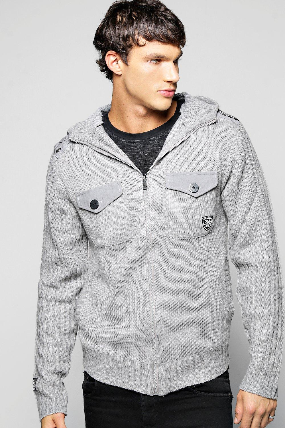 Zip Through Hooded Sweater With Sleeves