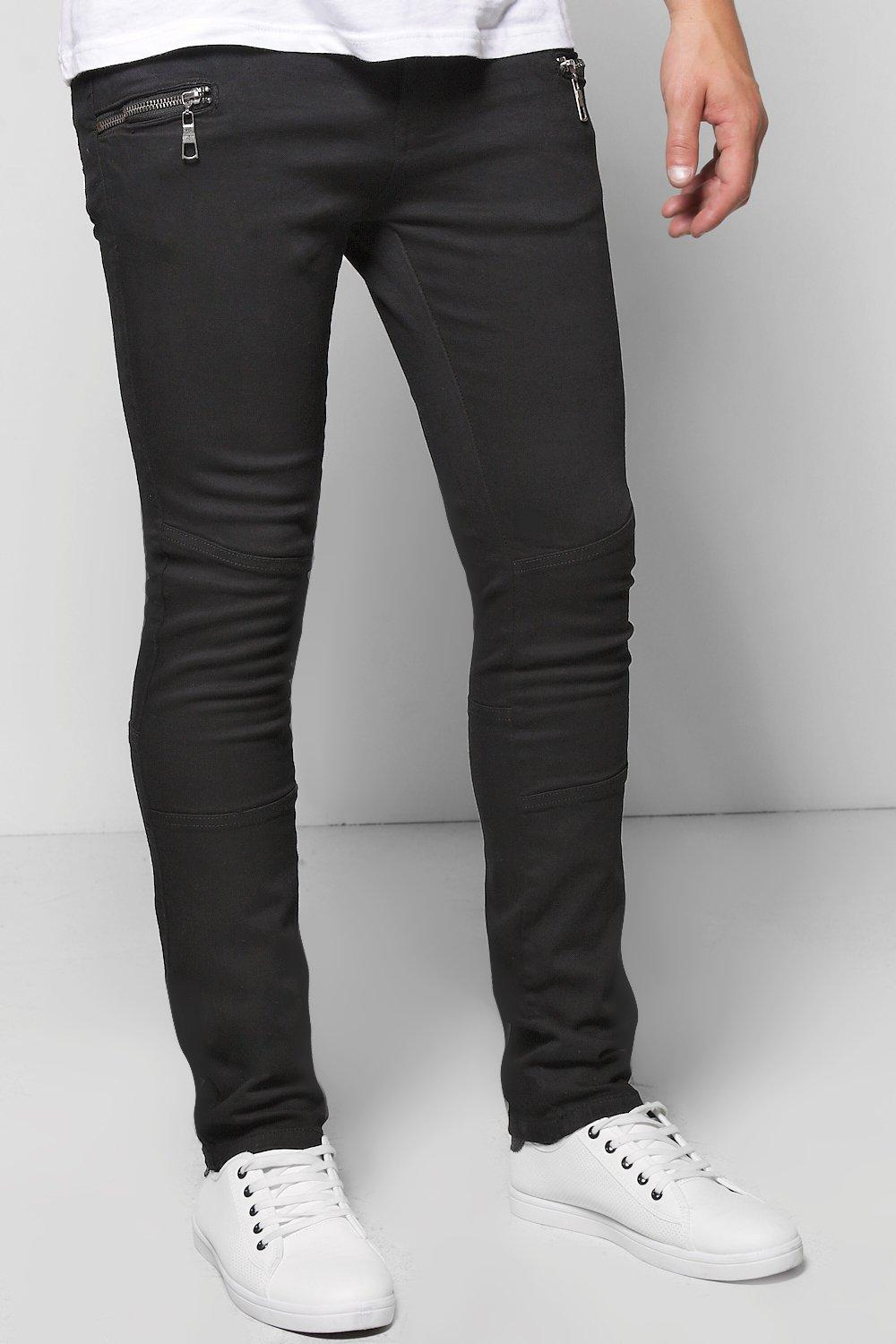 Skinny Fit Double Zip Front Panelled Jeans