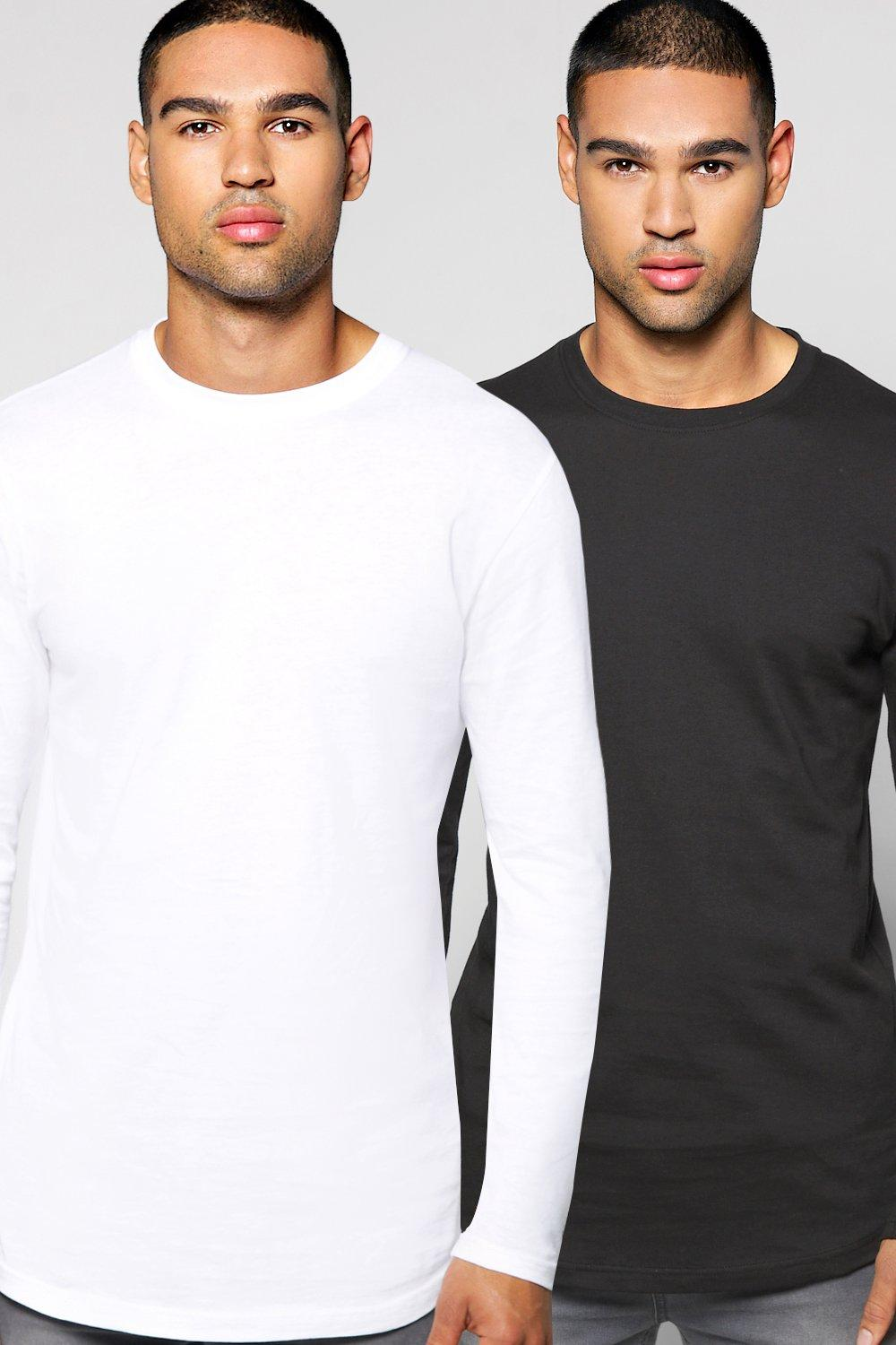Long Sleeve t Shirt With Curve Hem 2 Pack