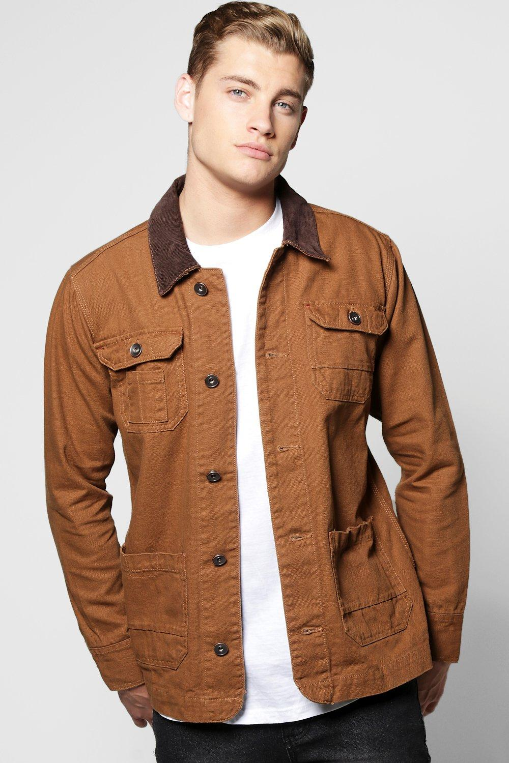 Cord Collar Heavy Cotton Twill Jacket