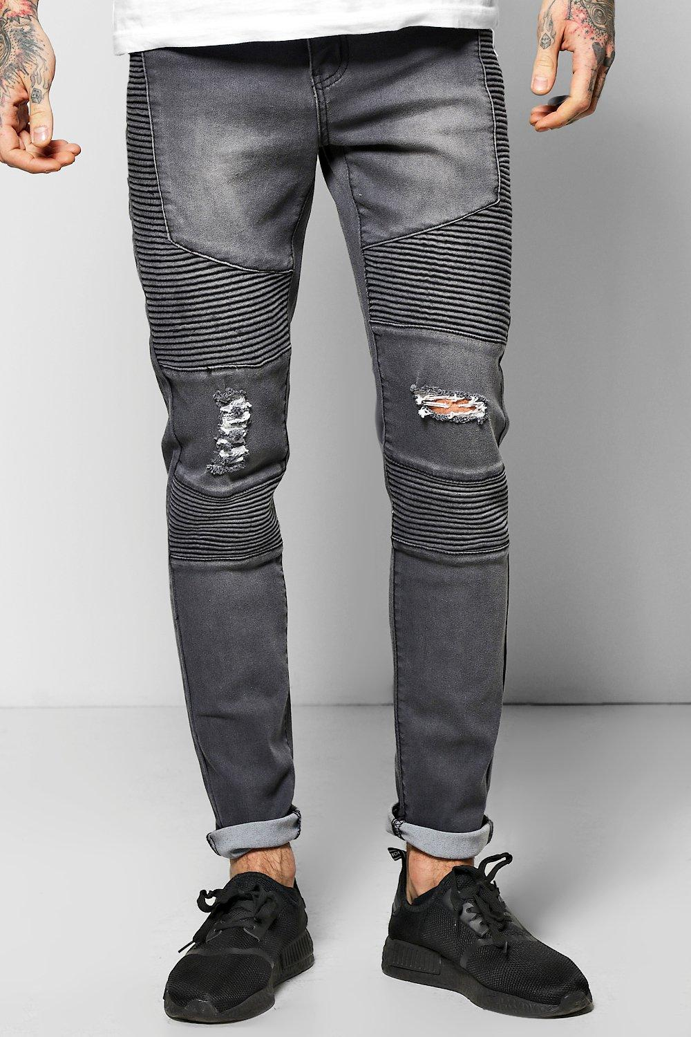 Skinny Fit Stretch Jeans With Heavy Biker Detail
