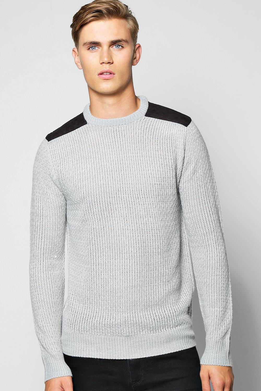 Weave Stitch Crew Jumper With Patches