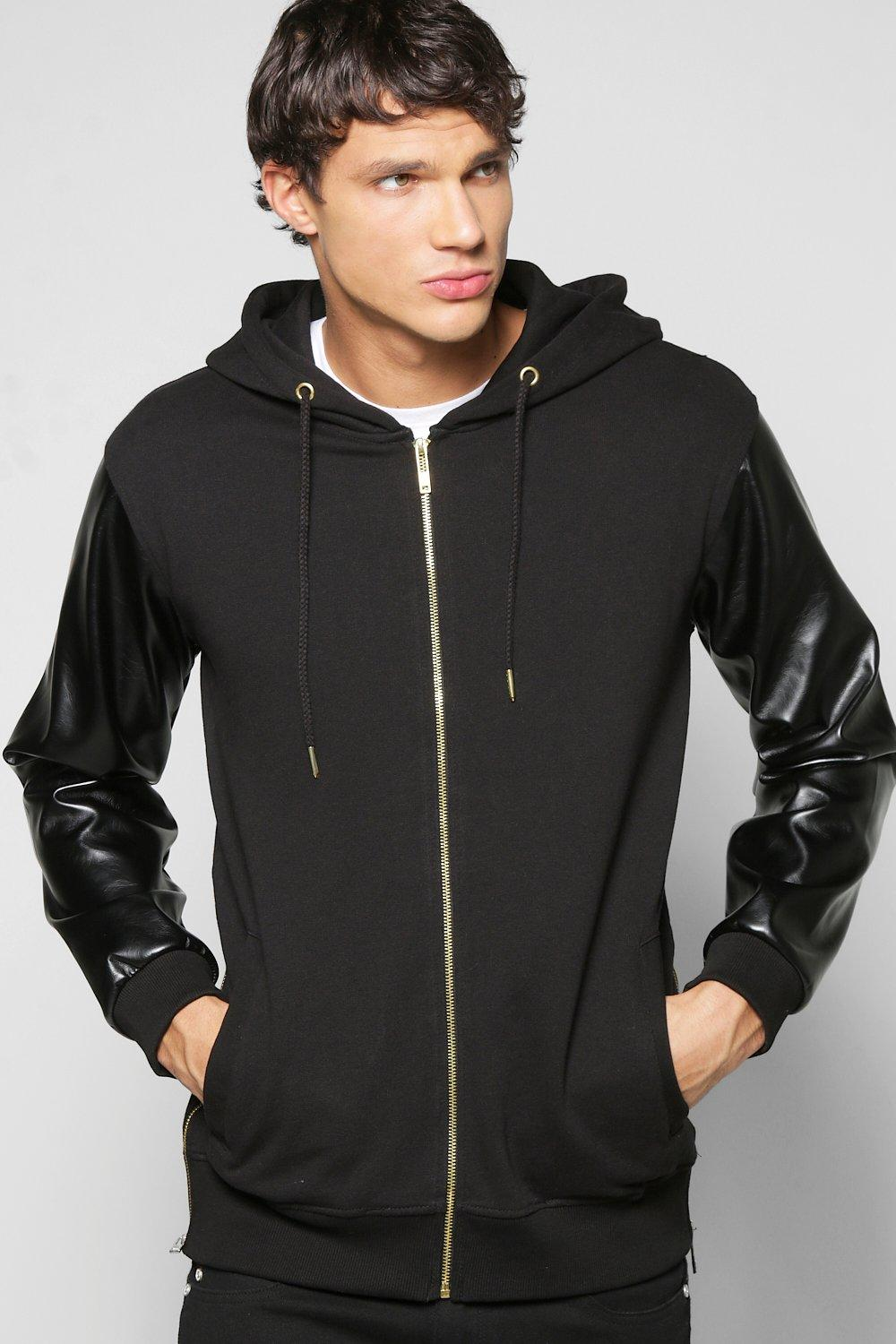 Luxe Hoodie With Pu Sleeves And Side Zips