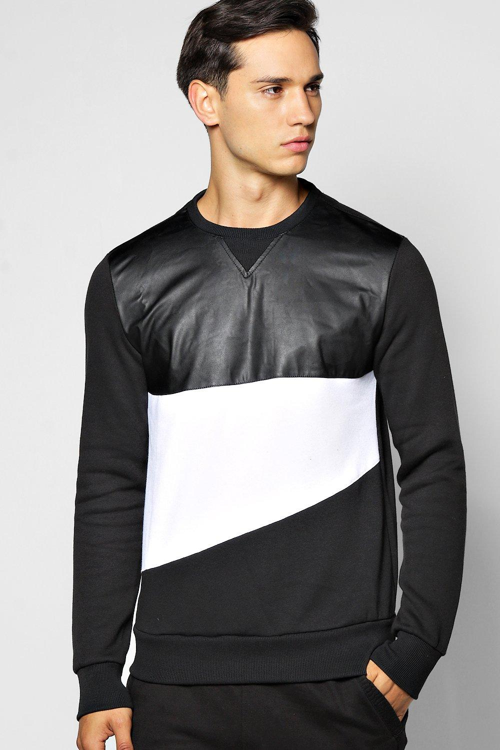 Spliced Pu Panel Sweatshirt