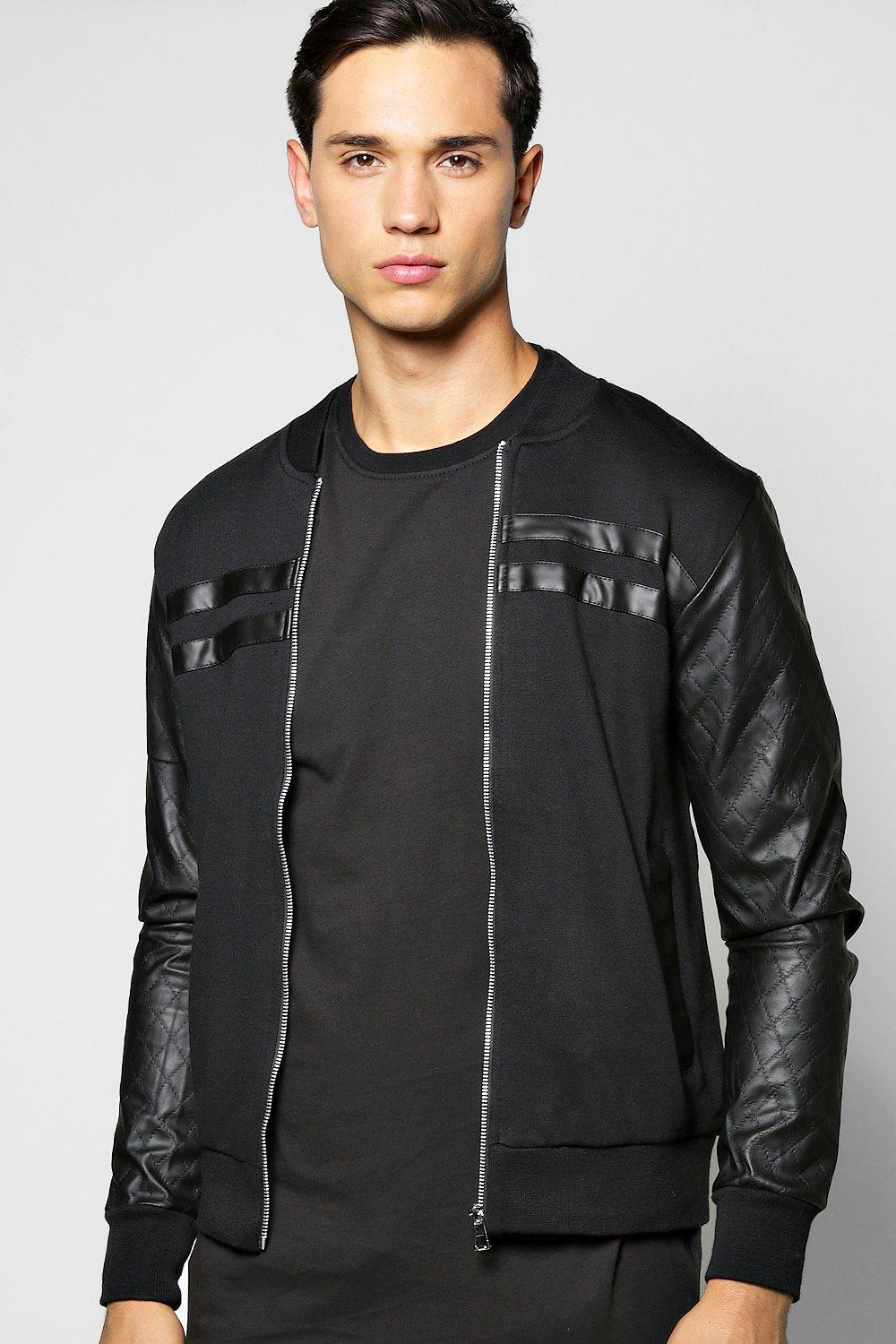 Jersey Bomber With Quilted Pu Sleeves