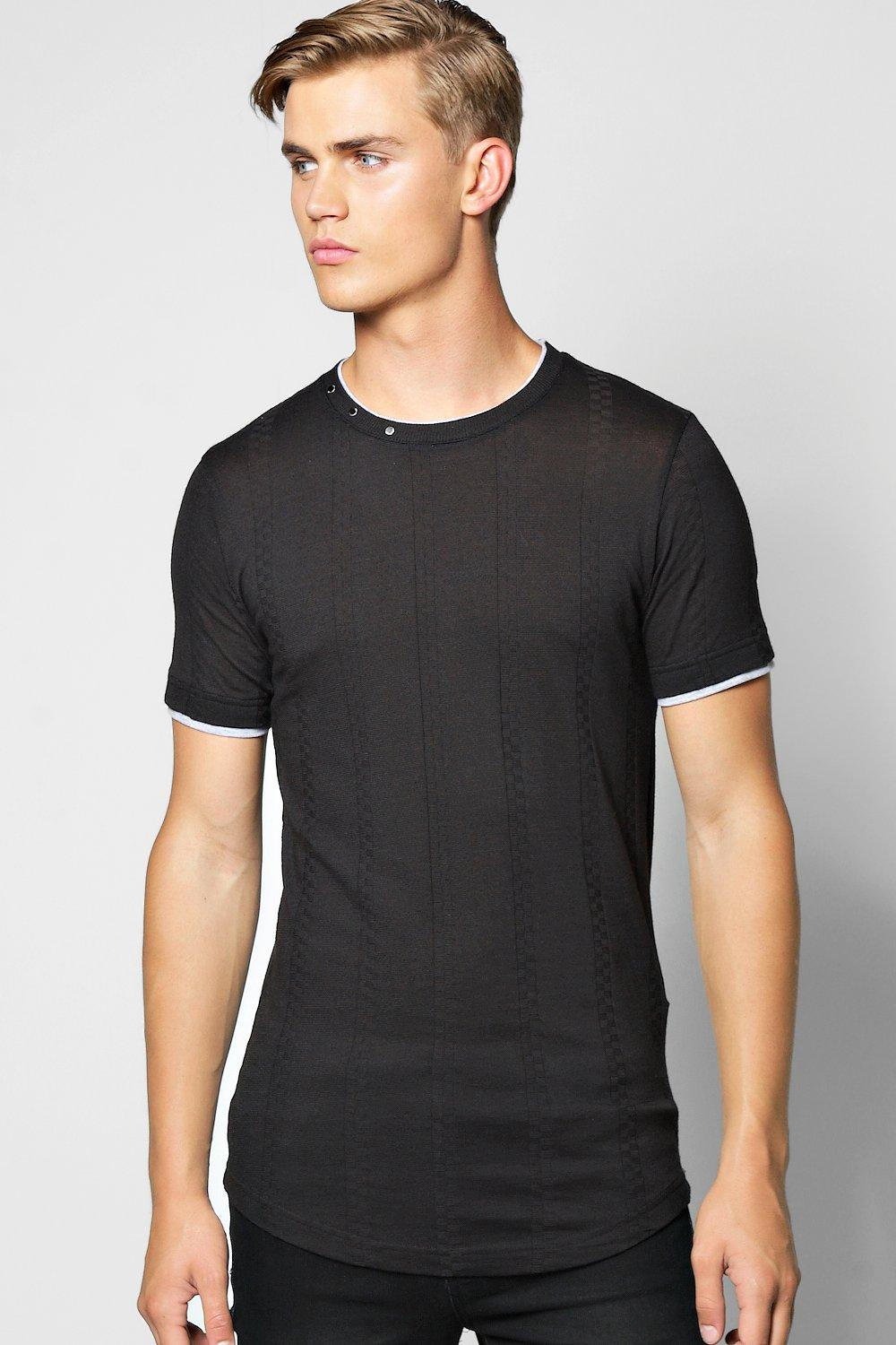 Short Sleeve Muscle Fit Knitted T Shirt