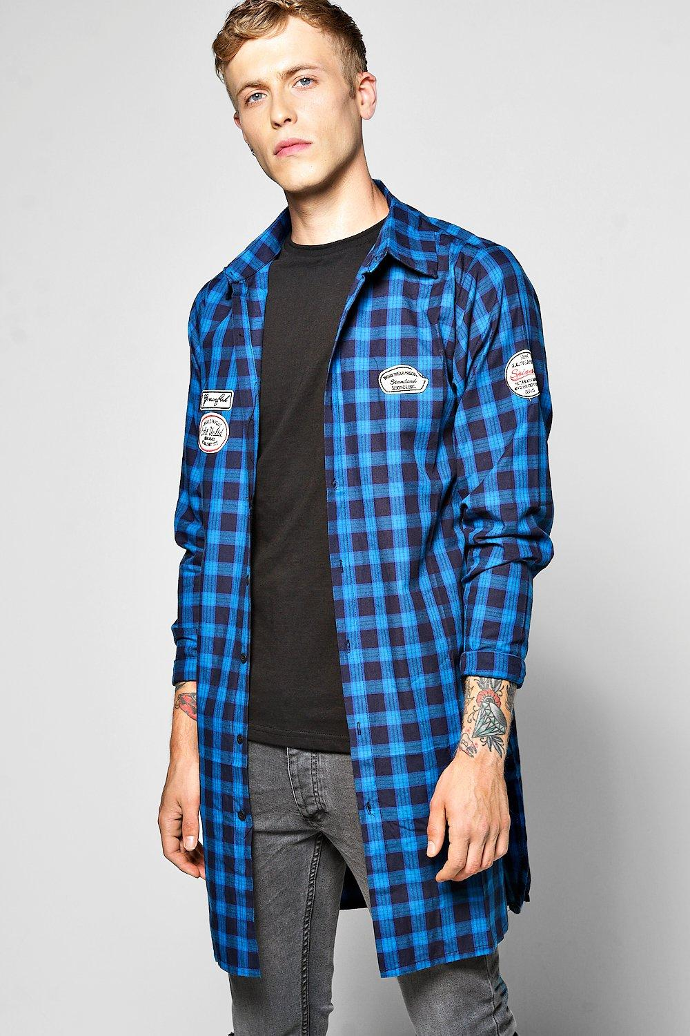Longline Checked Shirt With Badges