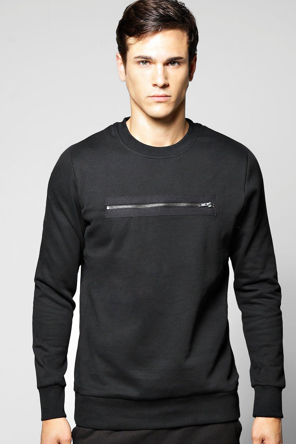 Crew Neck Sweater with Zip Front