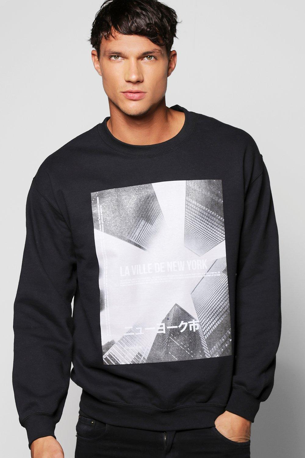 Front and Sleeve Print Sweater