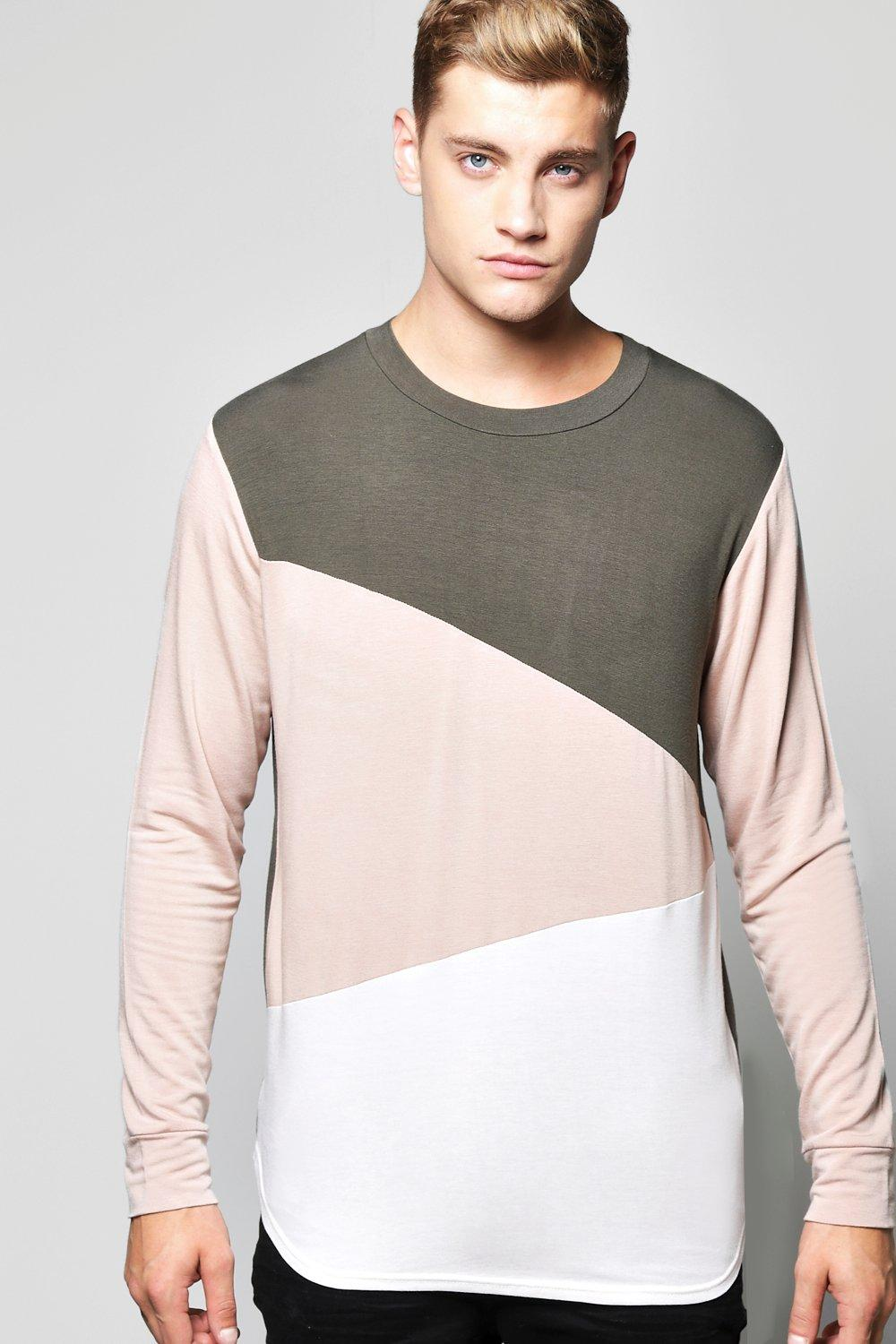 Spliced Sweater With Curve Hem