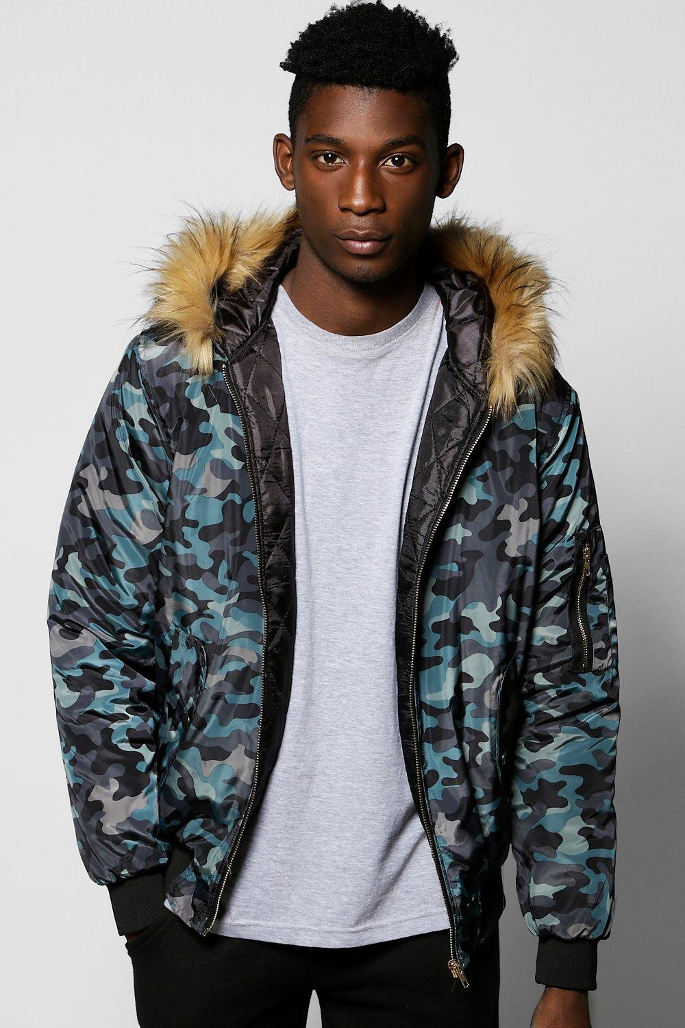 Fur Hooded Camo Jacket