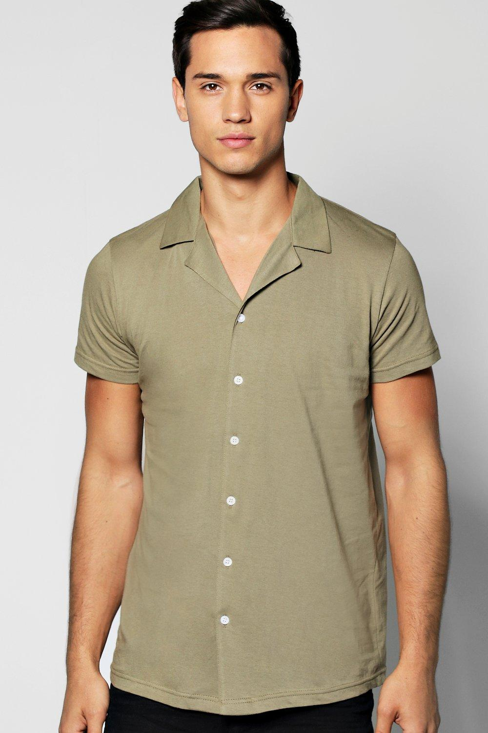 Short Sleeve Revere Collar Jersey Shirt