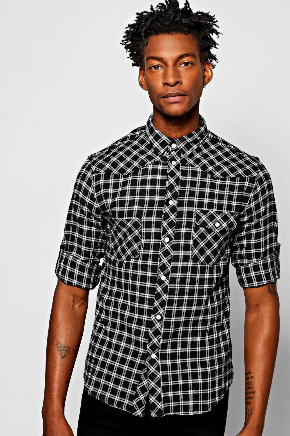 3/4 Rolled Up Sleeve Western Checked Shirt