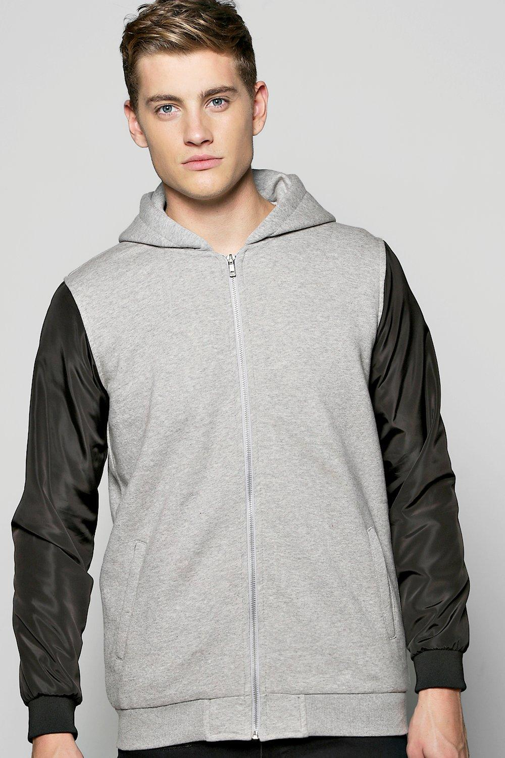 Jersey Lined MA1 Bomber Jacket with Nylon Sleeves