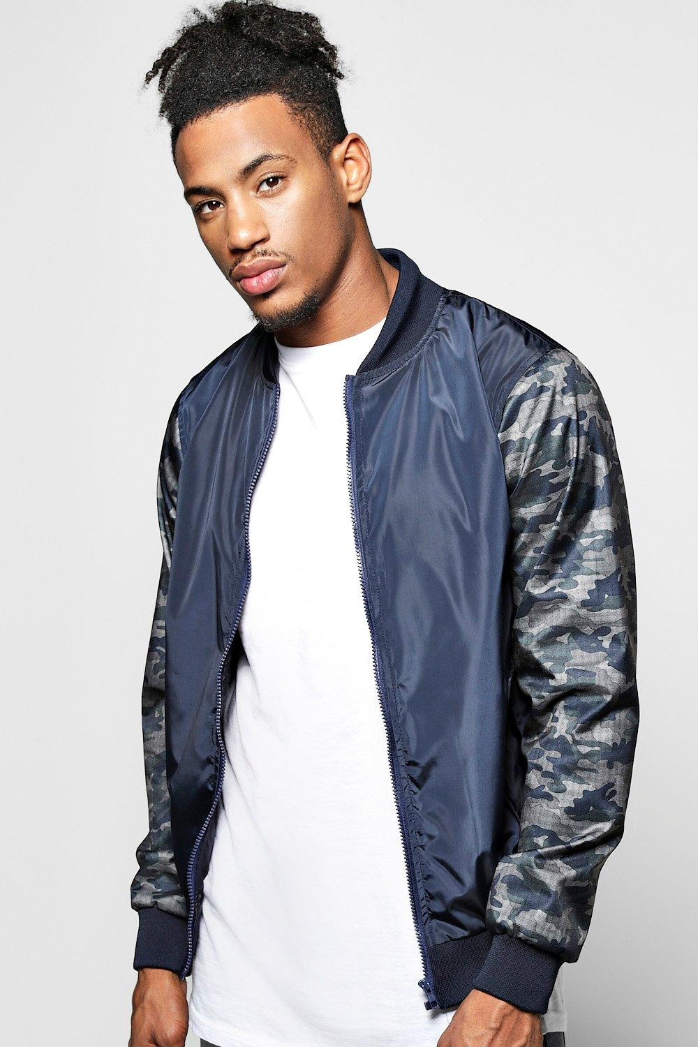 Lined Nylon MA1 Bomber Jacket with Camo Sleeves