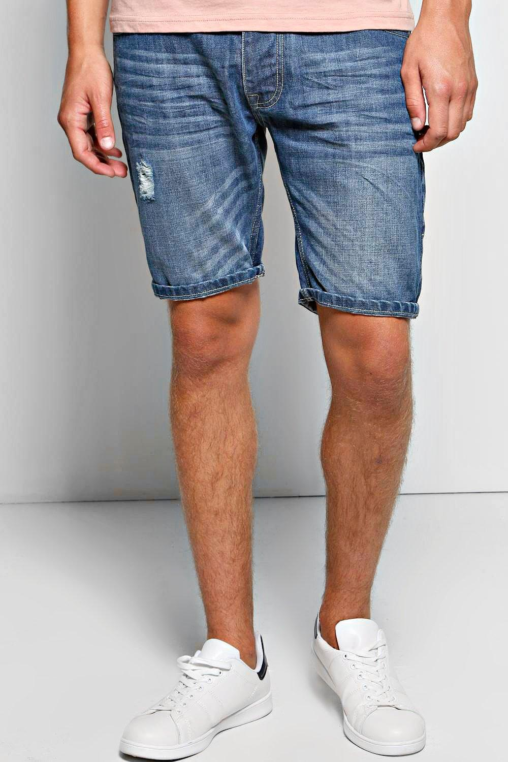 Abrased Denim Washed Short