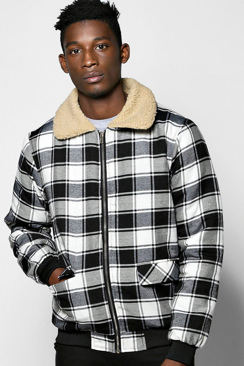 Borg Collar Brushed Check Harrington