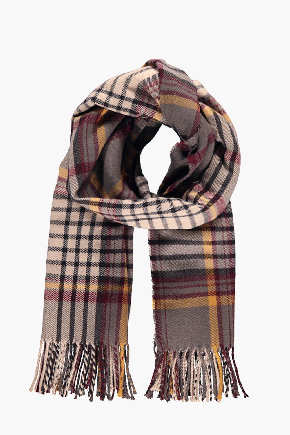 Multi Coloured Oversized Checked Scarf