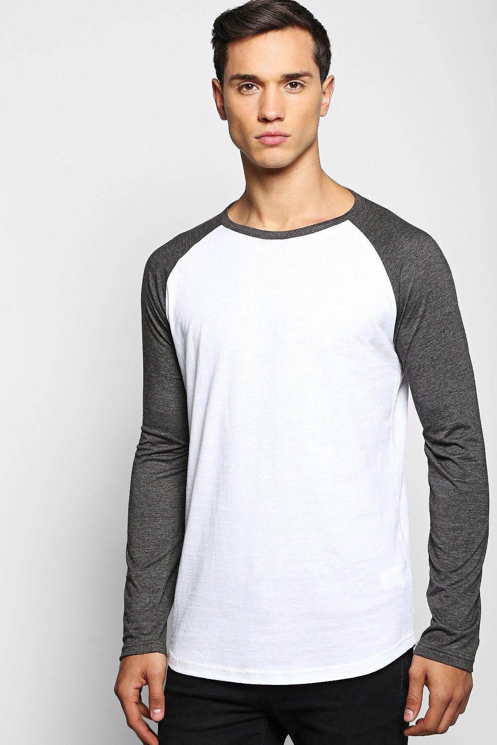 Long Sleeve Raglan T Shirt with Scoop Hem
