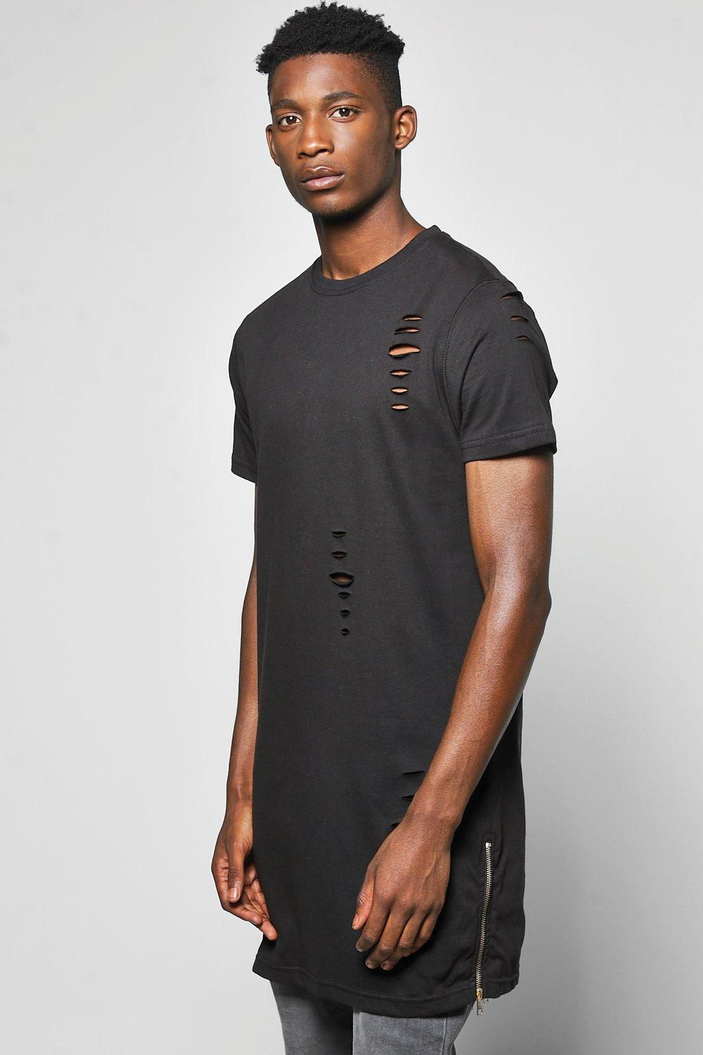 Longline Distressed T Shirt with Zips