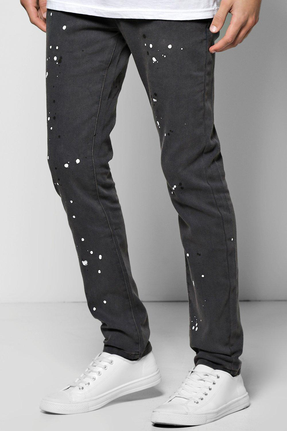 Skinny Fit Paint Splattered Jeans
