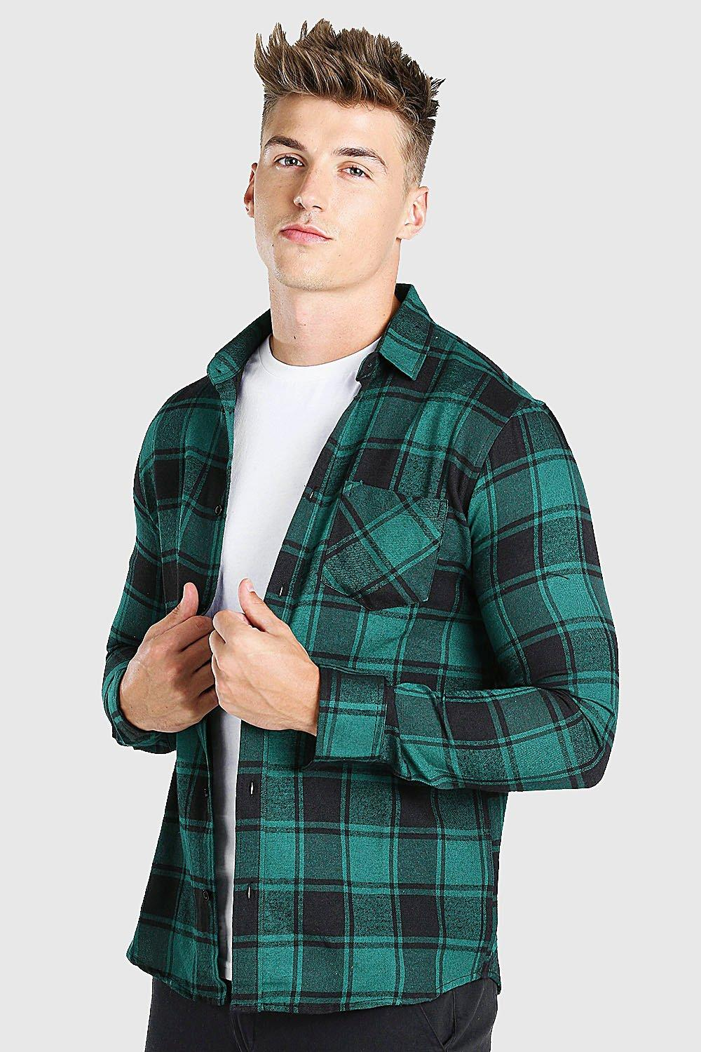Long Sleeve Brushed Check Shirt with Chest Pocket
