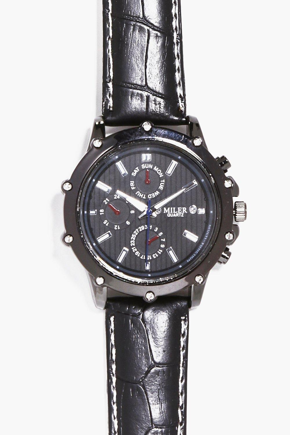 Black Screw Faced Croc Strapped Watch