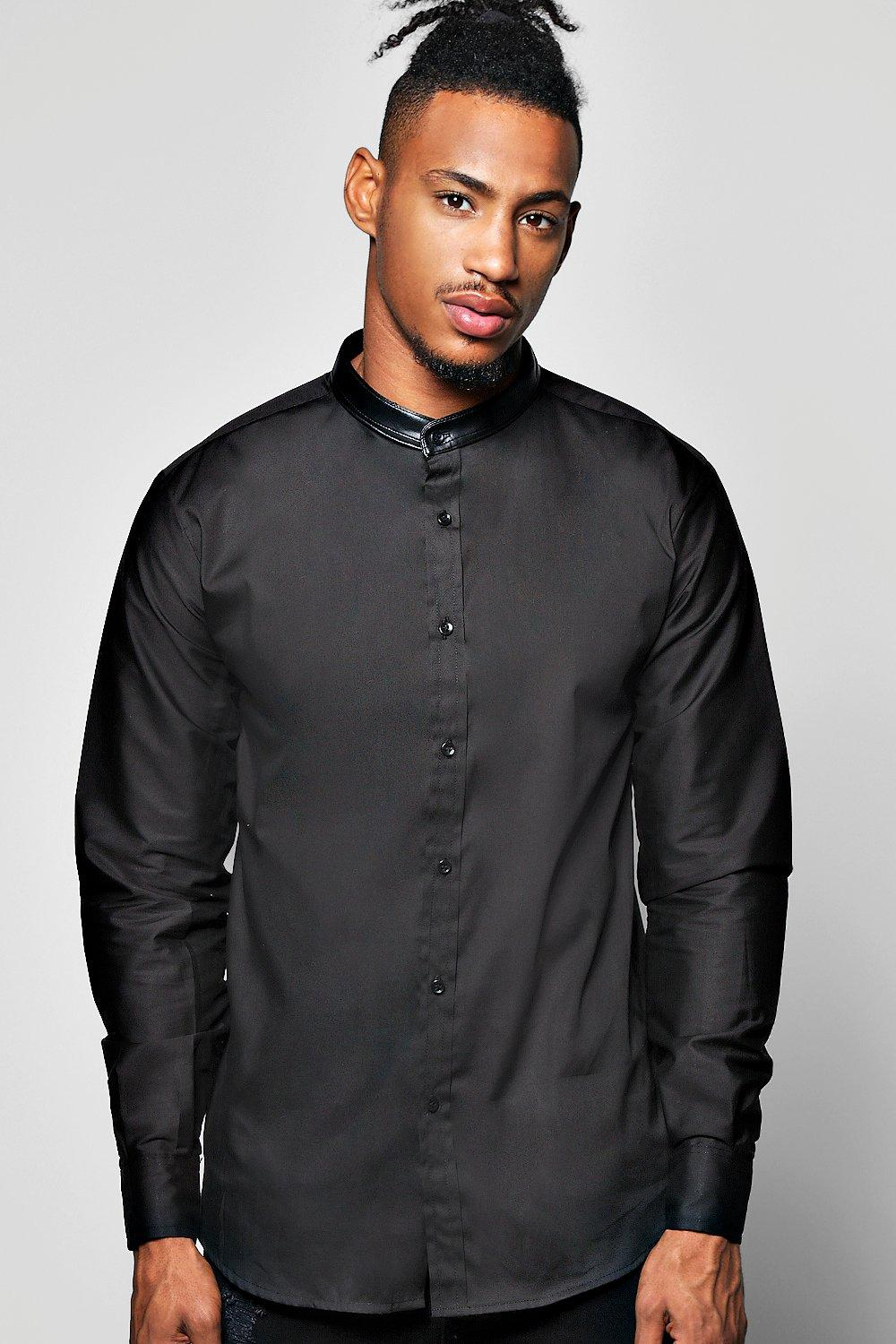 PU Trim Grandad Collar Shirt With Black Trim