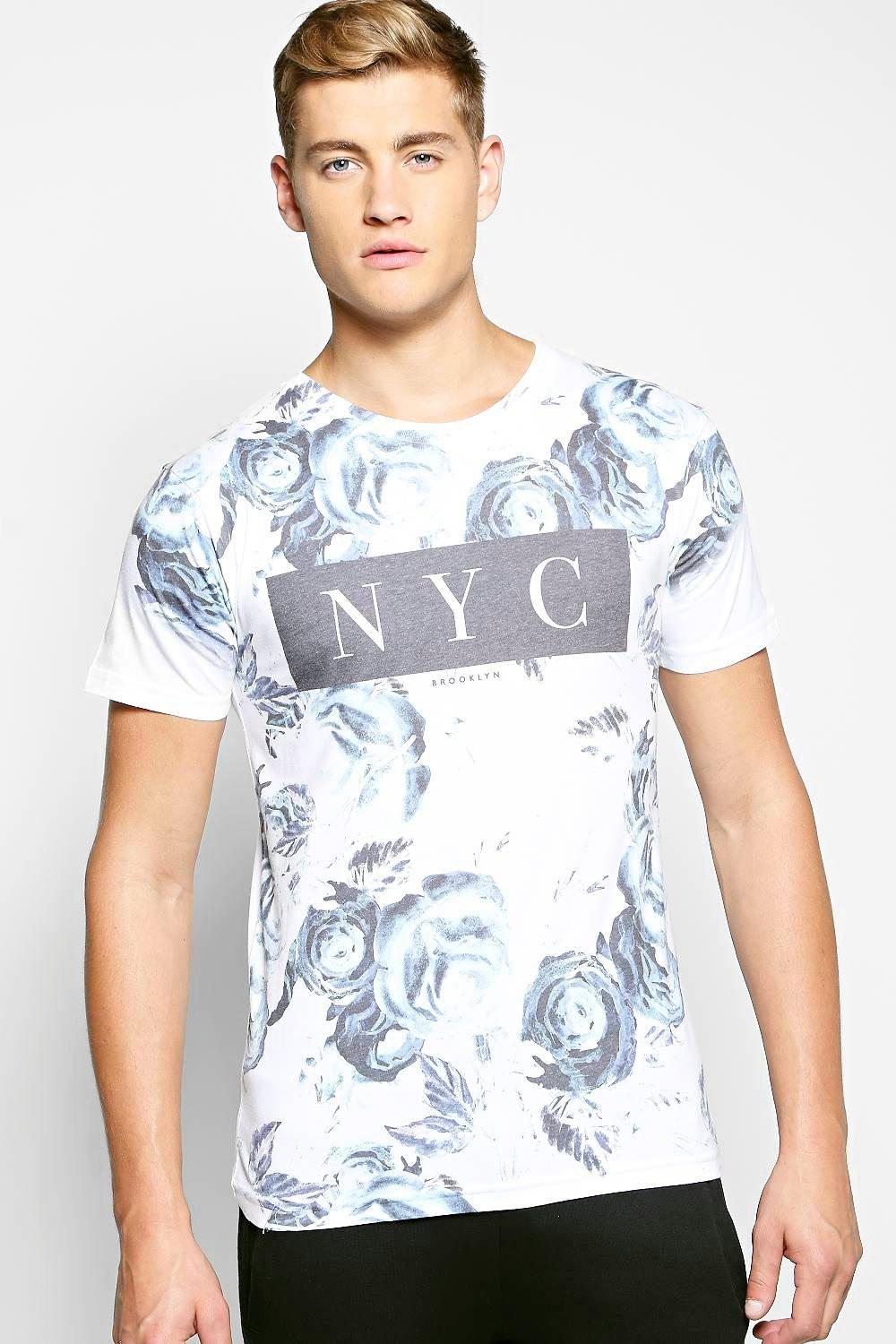 NYC All Over Floral Print T Shirt