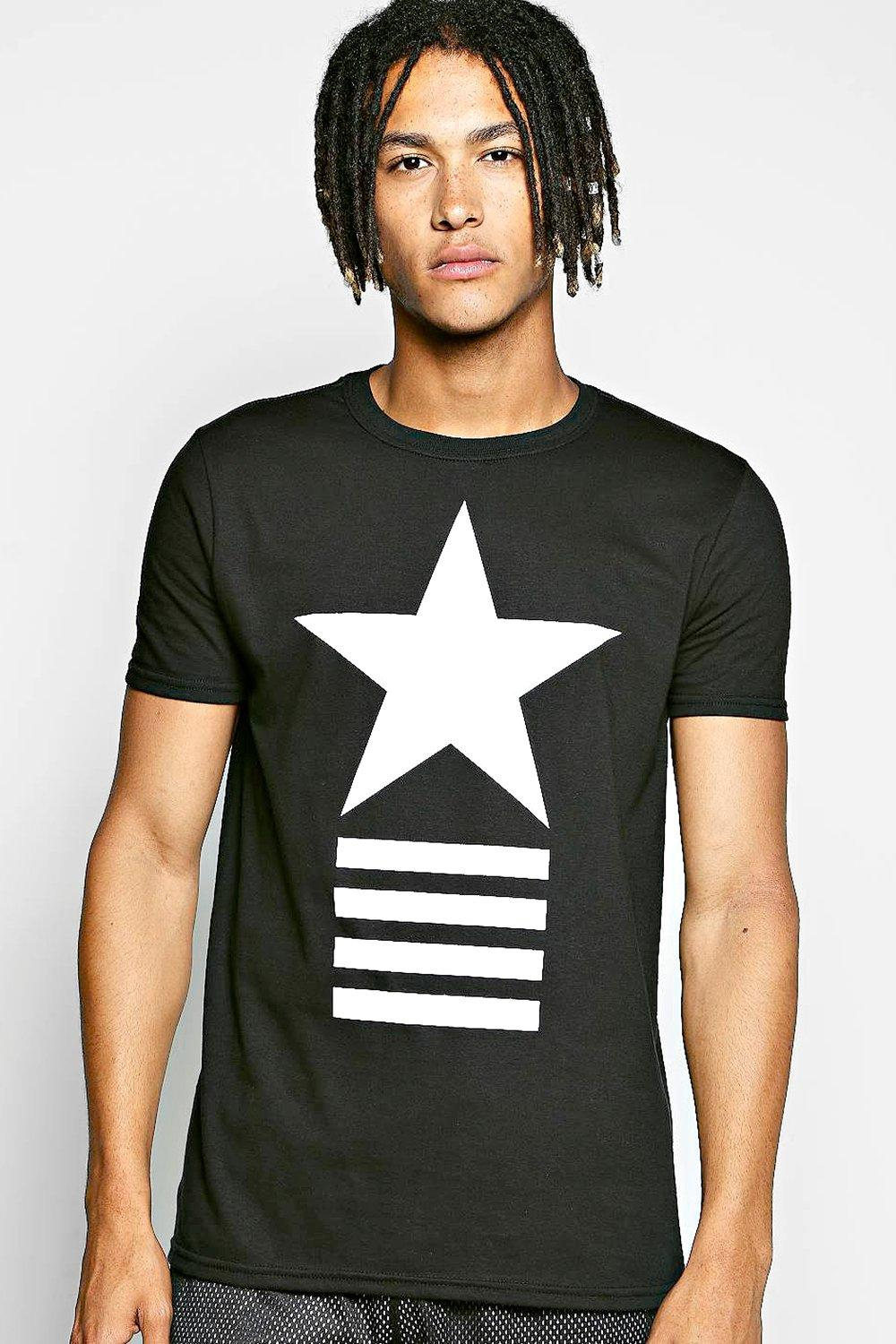 Star Stripe Print T Shirt