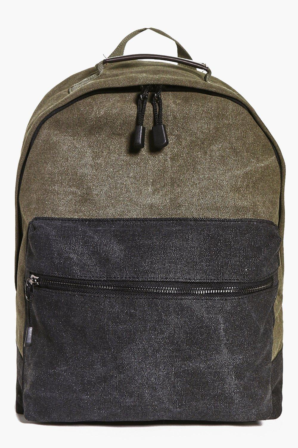 Colour Blocked Canvas Rucksack