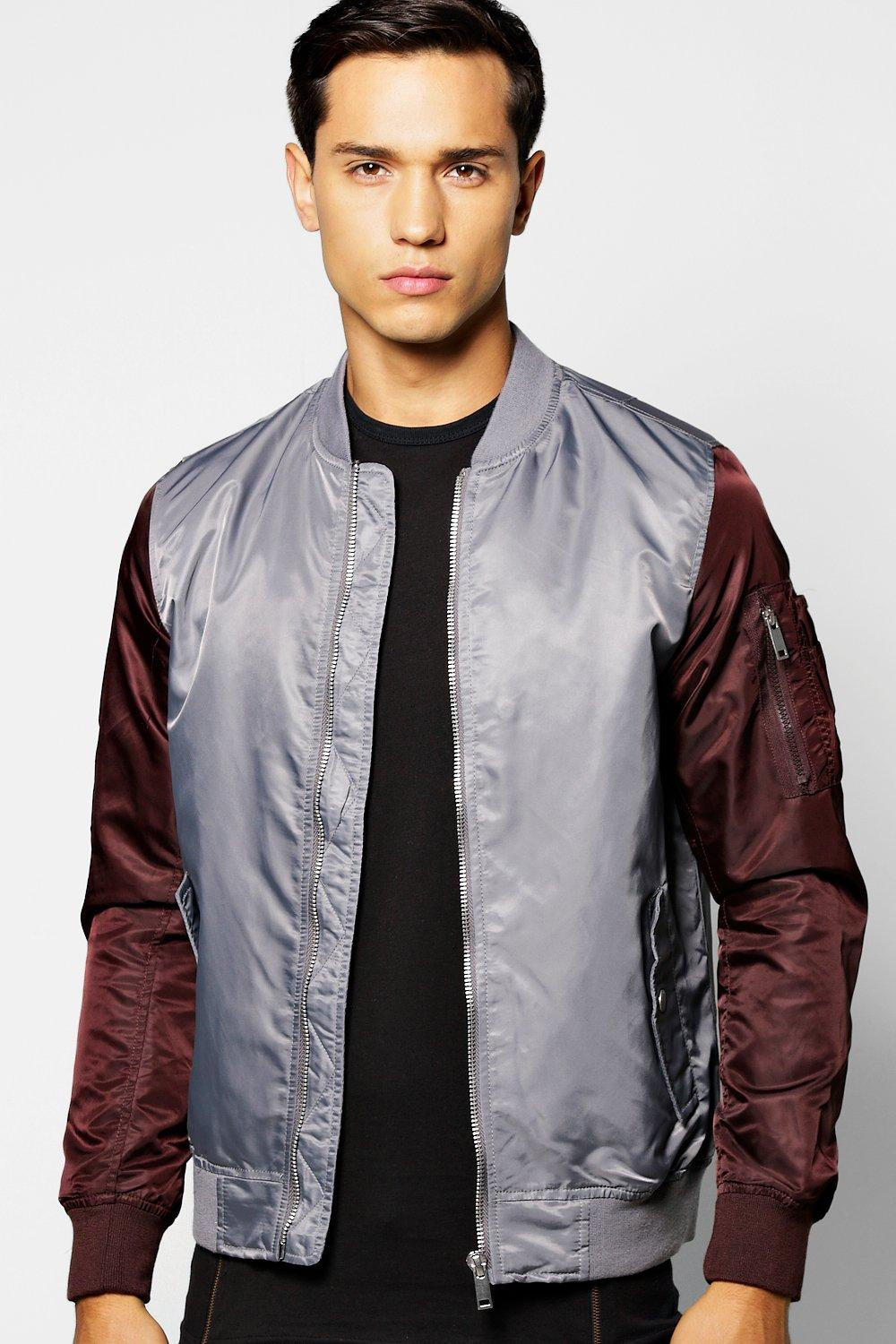 Padded Nylon Bomber With Contrast Sleeves