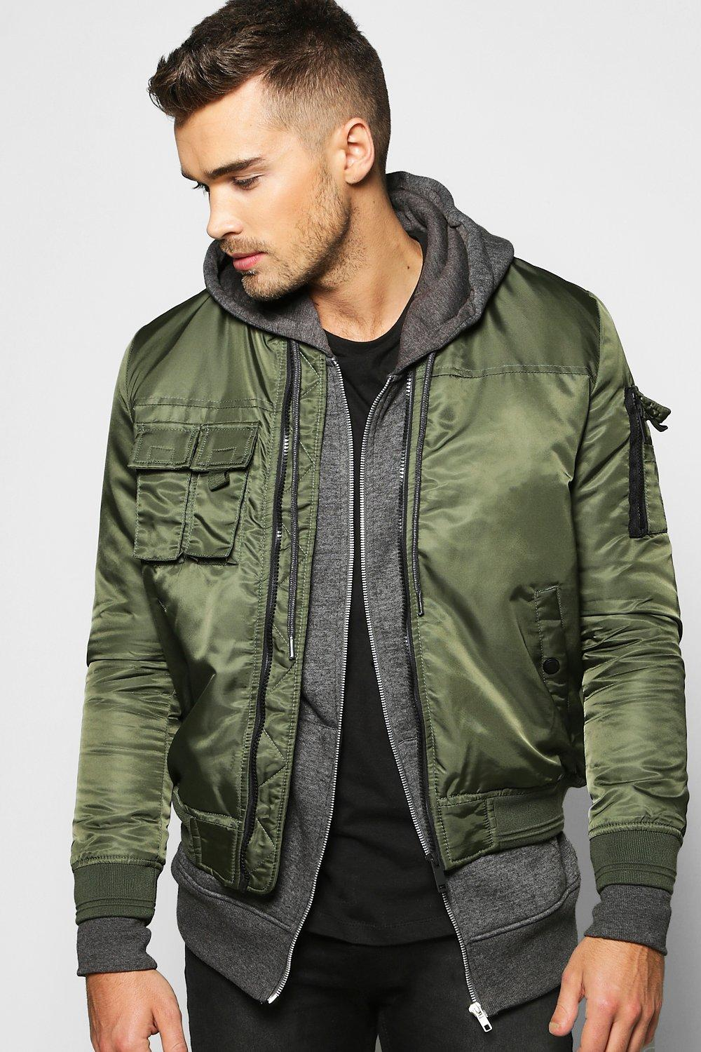 Multi Pocket Zip Through Bomber Jacket