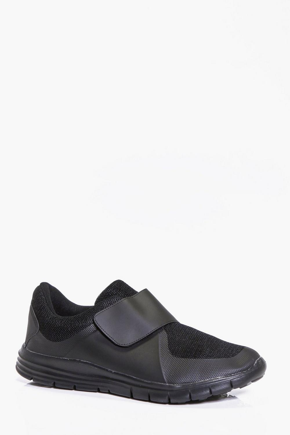 Black Velcro Running Trainers