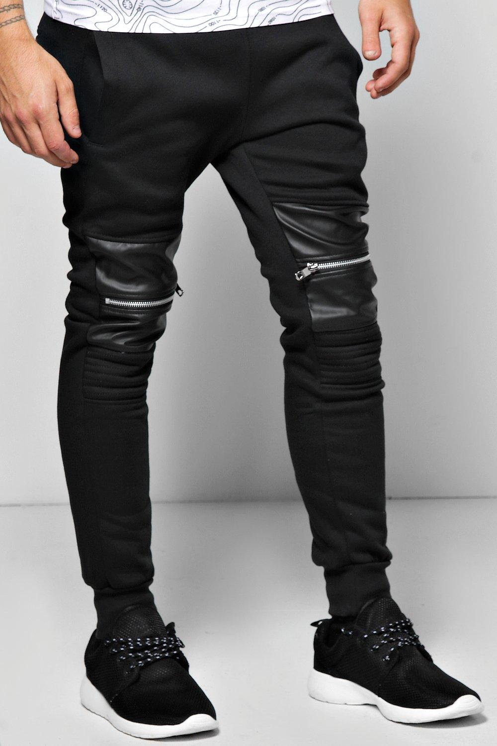 Skinny Fit PU Panel Zip Joggers