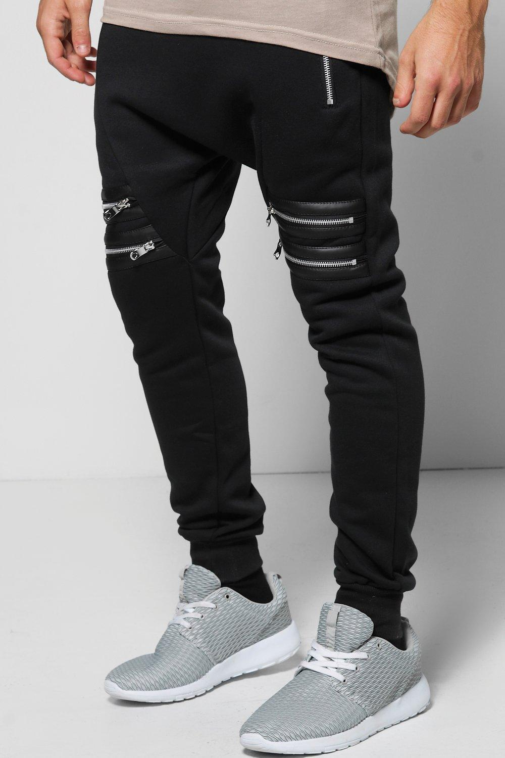 Skinny Fit Double Zip PU Joggers