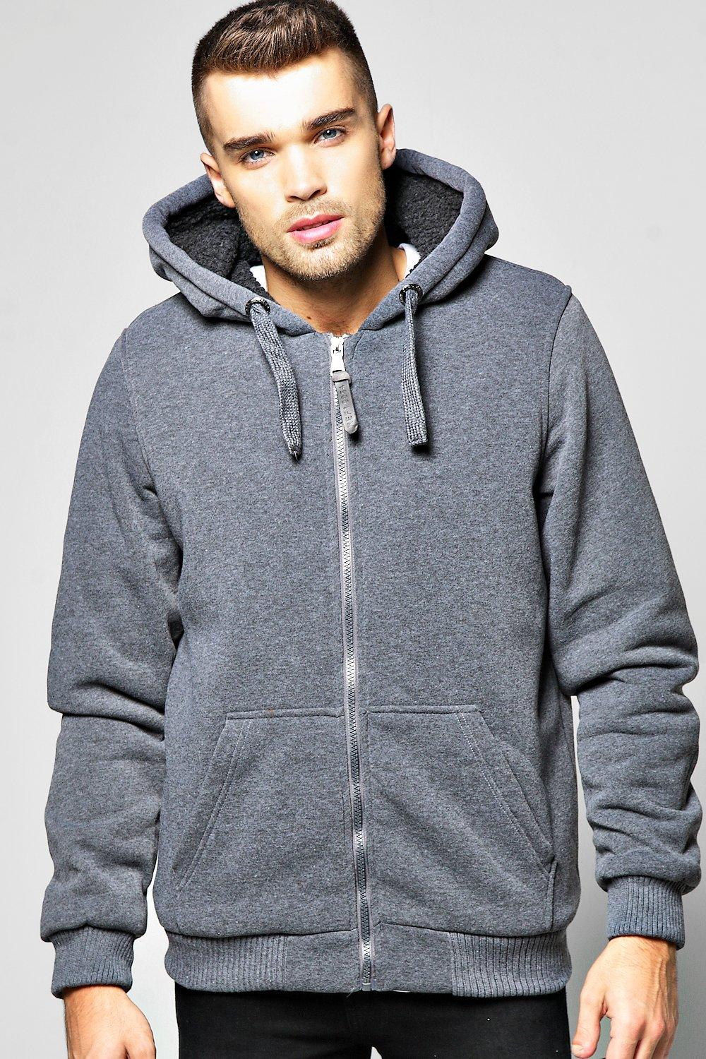 Zip Through Borg Lined Hoody