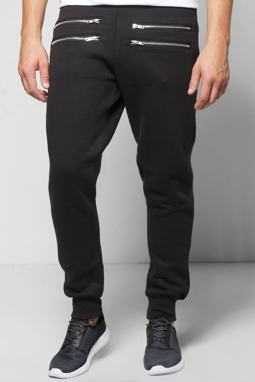 Skinny Fit Zip Front Joggers