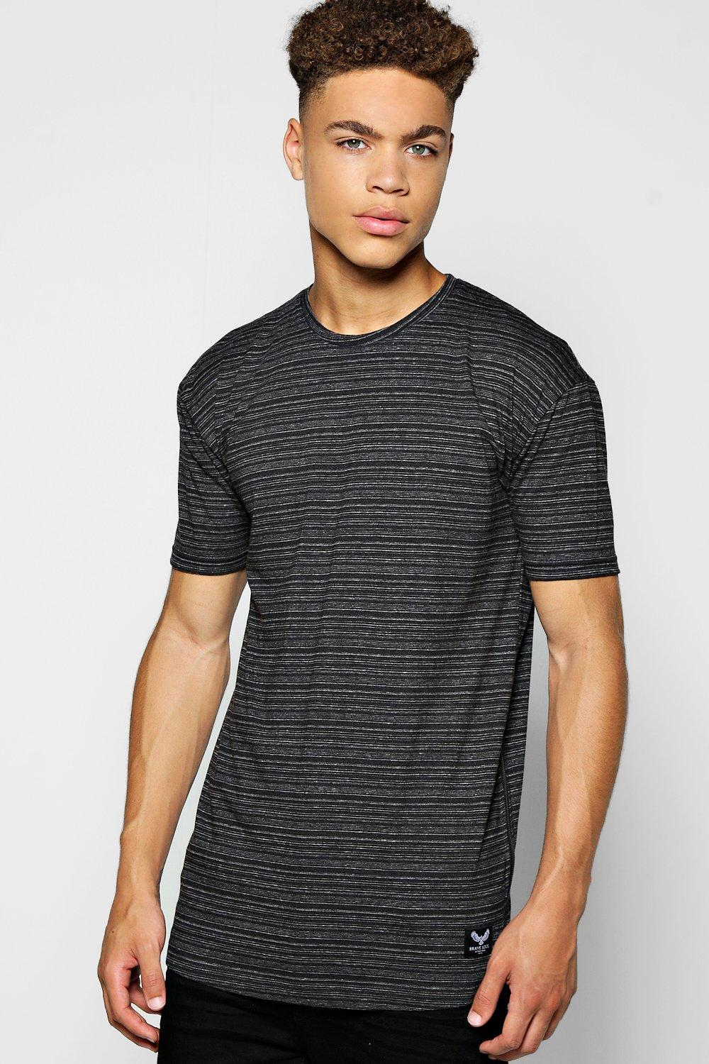 Longline Fine Stripe T-Shirt With Side Zips
