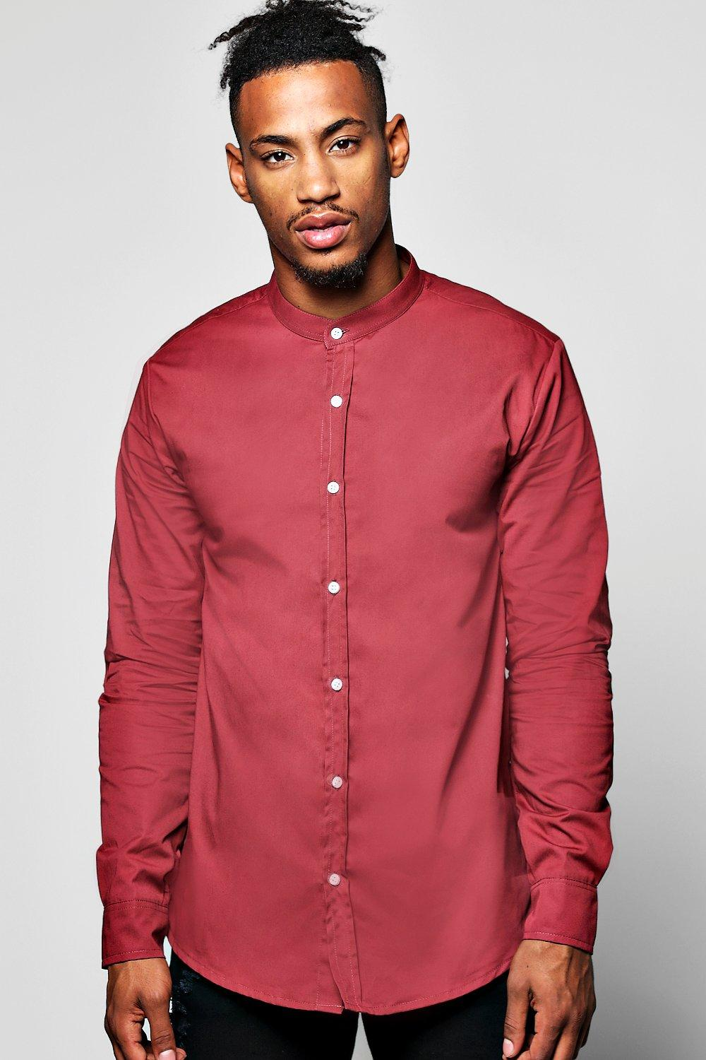 Grandad Collar Shirt With Curve Hem And Zip Details