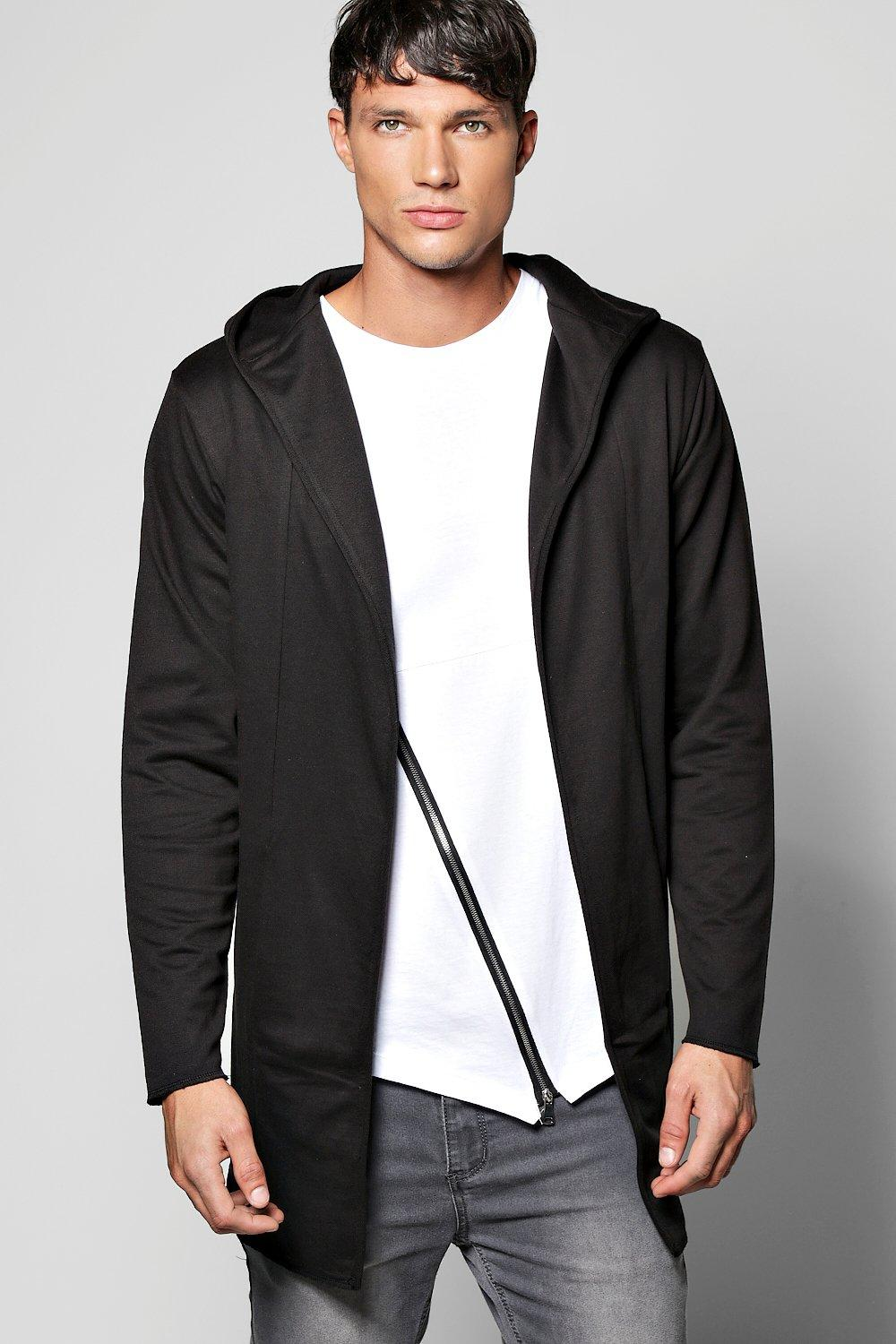 Longline Panelled Hooded Cardigan In Loopback