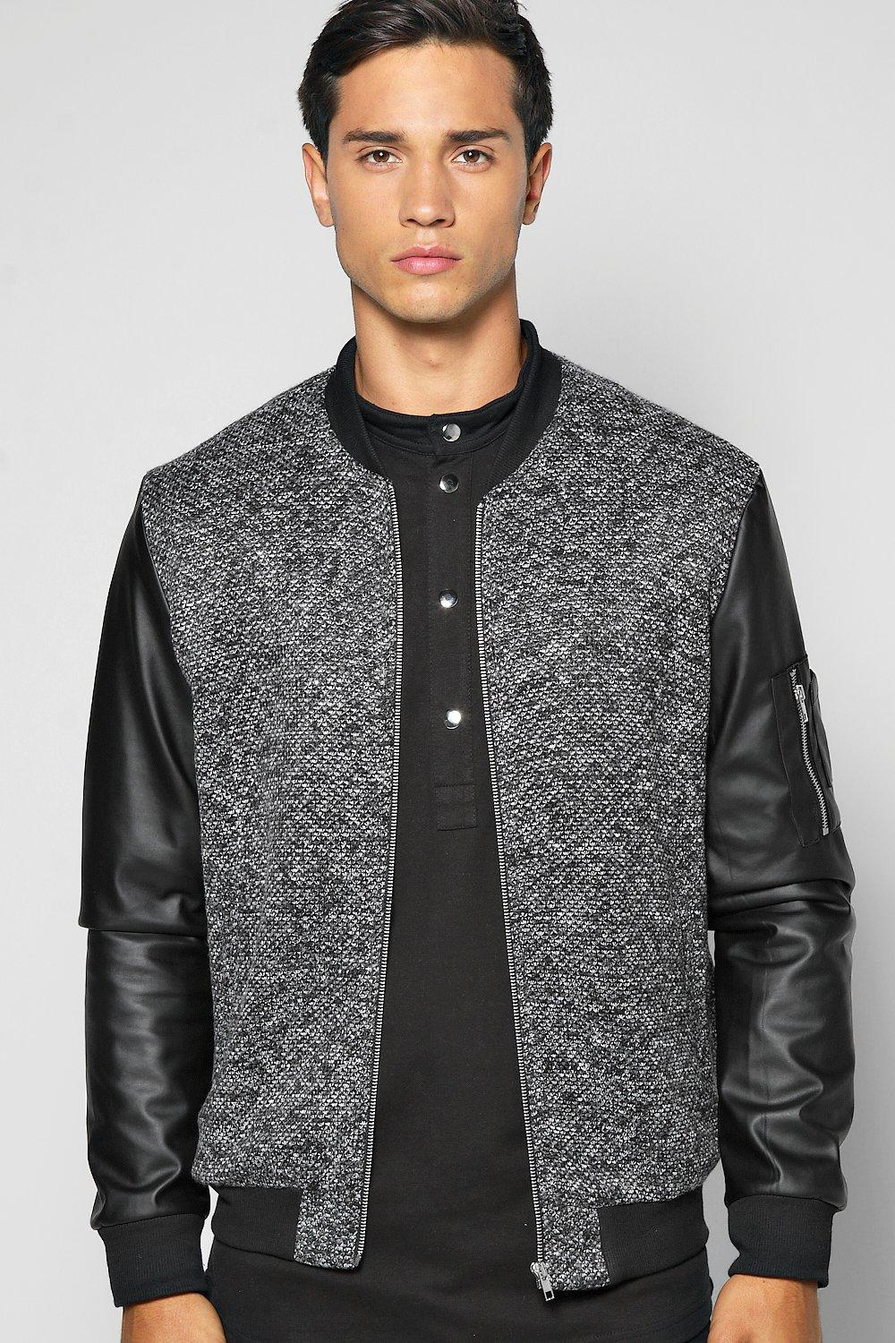 Smart MA1 Bomber With PU Sleeves And Zip Detail