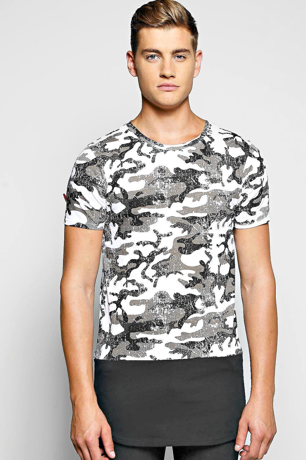 Longline Camo Print T Shirt With Mock Hem