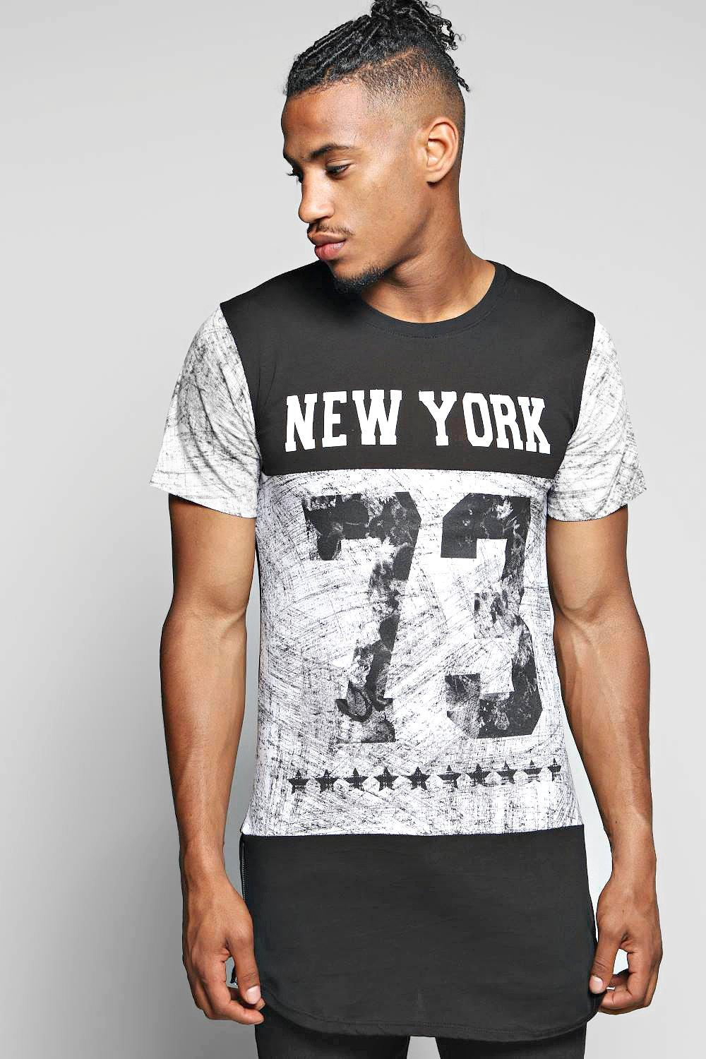 Longline NYC Panel Print T Shirt With Side Zips